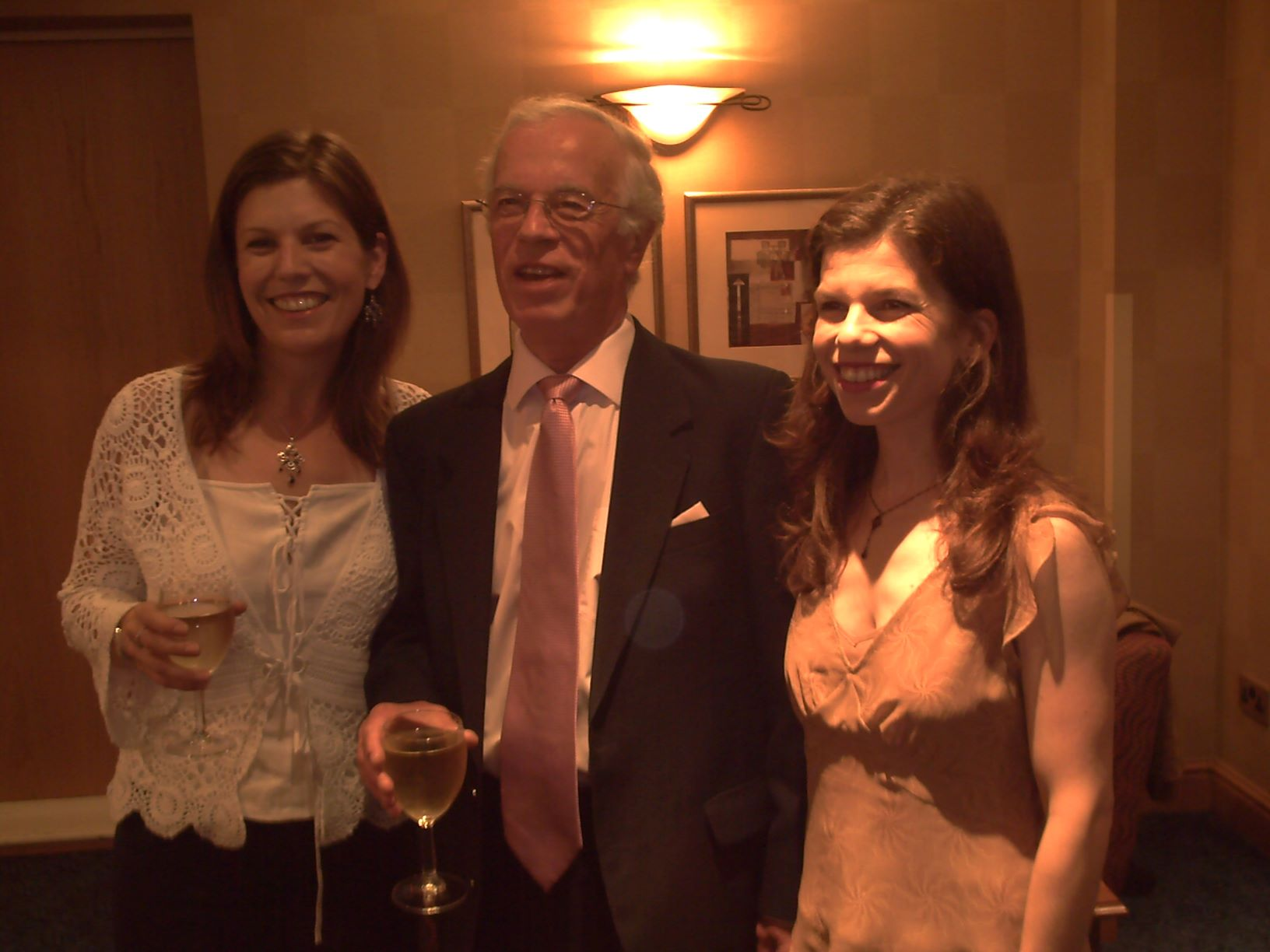 Peter Henson at his silver wedding anniversary, flanked by his two daughters, Mary and Sarah